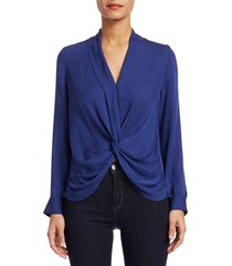 l'agence women's mariposa plunge silk blouse - marina - size l