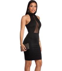 vestido racy modas curto tubinho decotado com tule preto