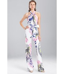 botanical palms jumpsuit, women's, white, size 2, josie natori