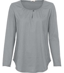 shirt met lange mouw en druppelhals, zilvergrijs 40/42