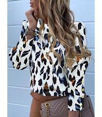 botón blanco diseño blusa de manga larga redonda leopardo cuello