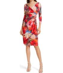 chiara boni la petite robe zeudi floral one-shoulder ruched cocktail dress, size 12 us in pop water colors at nordstrom