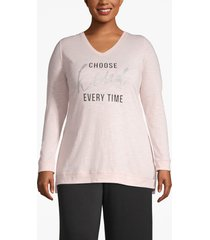 lane bryant women's active choose kind sparkle graphic tee 14/16 light pink