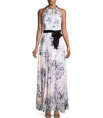 floral-print halter gown