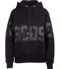 gcds woman black hoodie with tone on tone logo band
