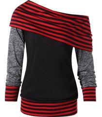 color block stripe trim slash neck sweatshirt