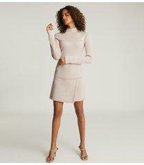 reiss zoe - knitted mini dress in blush, womens, size xl