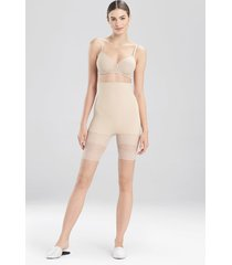 natori plush high waist thigh shaper bodysuit, women's, beige, 100% cotton, size l natori