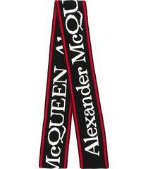 alexander mcqueen logo embroidered scarf - black