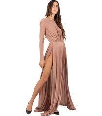 long pleated lamé dress