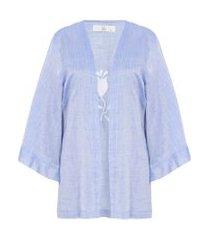 kimono listrado bordado - azul