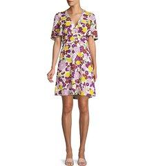 floral plissé a-line swing dress