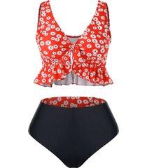 plus size floral print reversible flounce tankini swimwear