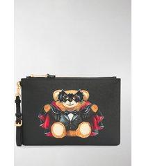 moschino bat teddy print clutch bag