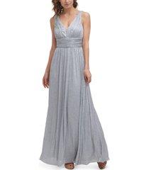 eliza j metallic-threaded mesh-inset gown