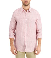 tasso elba men's linen catalo stripe shirt, created for macy's