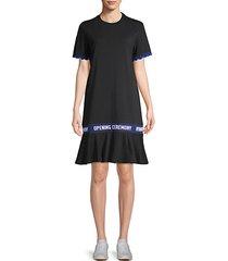 scalloped logo-tape cotton t-shirt dress