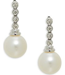14k white gold, 9mm white freshwater pearl & diamond drop earrings