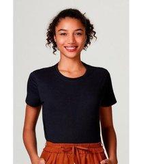 camiseta básica manga curta de algodão pima hering feminina - feminino