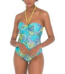 badpak selmark zwempak 1 stuk bandeau armatuur cashmere mare turquoise