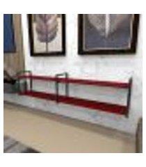 estante industrial aço preto 180x30x40cm (c)x(l)x(a) mdf vermelho modelo ind40vrest