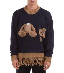 maglione maglia uomo girocollo bear fringed