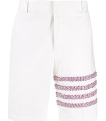 thom browne 4-bar rwb braided unconstructed chino shorts - white