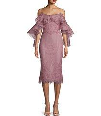 ruffled mesh sheath dress