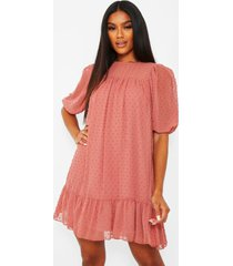 dobby drop hem puff sleeve smock dress, rose