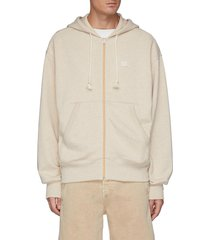 face patch organic cotton zipped hoodie
