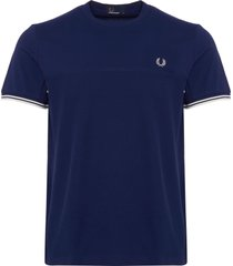 fred perry navy waffle textured t-shirt m3608