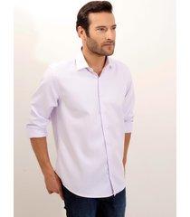 camisa dudalina manga longa fio tinto maquinetado masculina (roxo claro, 45)