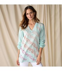 aqua tunic with emb