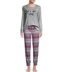 jane and bleecker women's holiday 2-piece long-sleeve pajama set - pink - size m