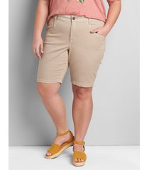 lane bryant women's signature fit slim bermuda short 28 natural