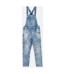 macacão jeans com bolsos e puídos | blue steel | azul | p