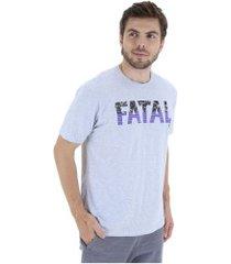camiseta fatal estampada 20344 - masculina - cinza claro