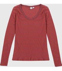 camiseta manga larga  coral-vinotinto gap