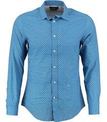diesel soepel blauw slim fit overhemd valt kleiner