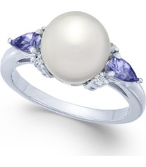 cultured freshwater pearl (9mm), tanzanite (3/8 ct. t.w.) & diamond accent ring in 14k white gold