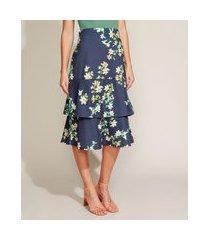saia feminina midi estampada floral em camadas com babado azul marinho