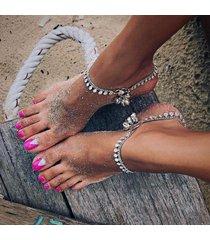 ciondolo rotondo della caviglia della catena del piede di fascino delle cavigliere della boemia dei nani sandali a piedi nudi della caviglia della spiaggia dei sandali a piedi nudi