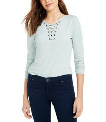 pink rose juniors' lace-up ribbed top