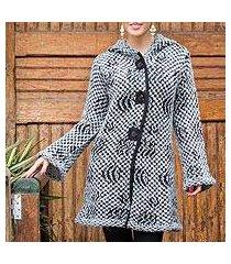 alpaca blend hooded sweater coat, 'op art' (peru)