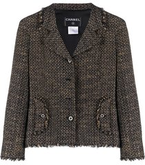 chanel pre-owned 2003 slim-fit woven jacket - black