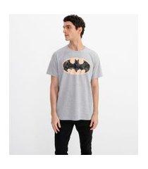camiseta masculina manga curta estampa batman | justice league | cinza | pp