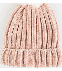 dottie rib knit fur pom beanie - blush