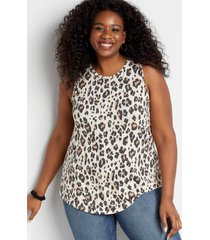 maurices plus size womens 24/7 leopard braided arm tank top beige