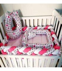 enxoval para quarto de bebê 7 peças panda rosa