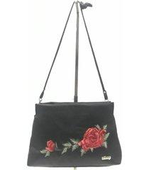 cartera negra stefani flor